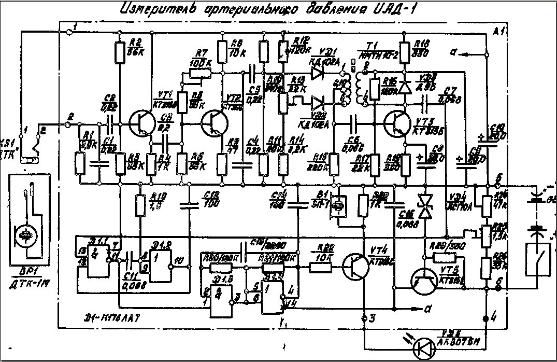 Электронная схема тонометра выполнена на пяти кремниевых транзисторах типа КТ315Б, выполняющих обработку...