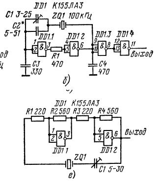 Кварцевый генератор на 155ла3 схема