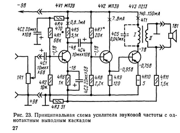 Трансформатор 4Т1 служит для согласования сравнительно большого выходного сопротивления оконечного каскада усилителя...