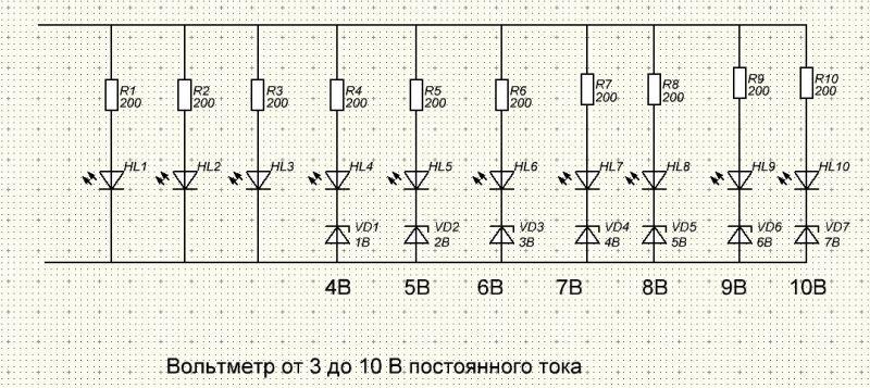 Светодиодный индикатор напряжения своими руками схема