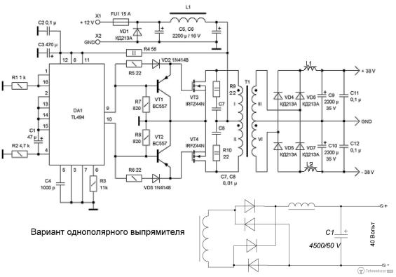 лабараторный БП с TL494.