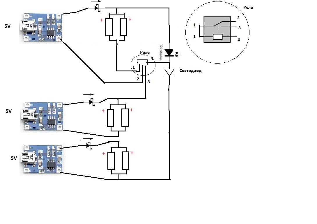 схема подключения светодиодов и солнечной